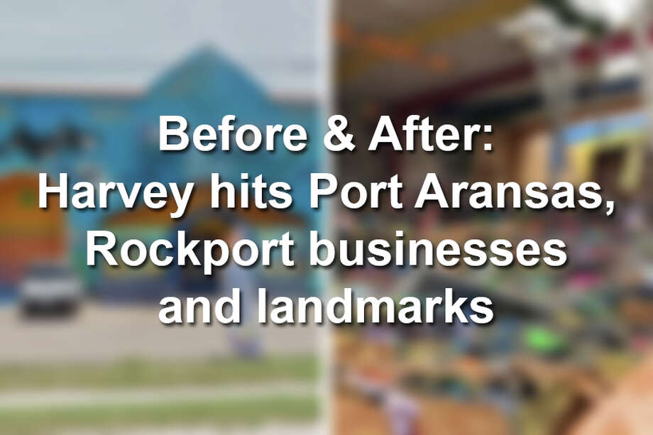 Startling before and after photos show Harvey's damage at easily recognizable businesses and landmarks in the coastal towns of Port Aransas and Rockport. Photo: SAEN
