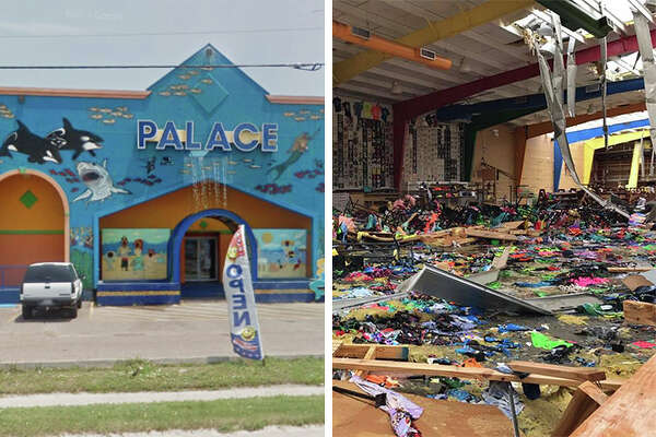 The Palace clothing shop in Port Aransas was ripped apart by Hurricane Harvey as the storm made landfall on Friday, Aug. 25, 2017.