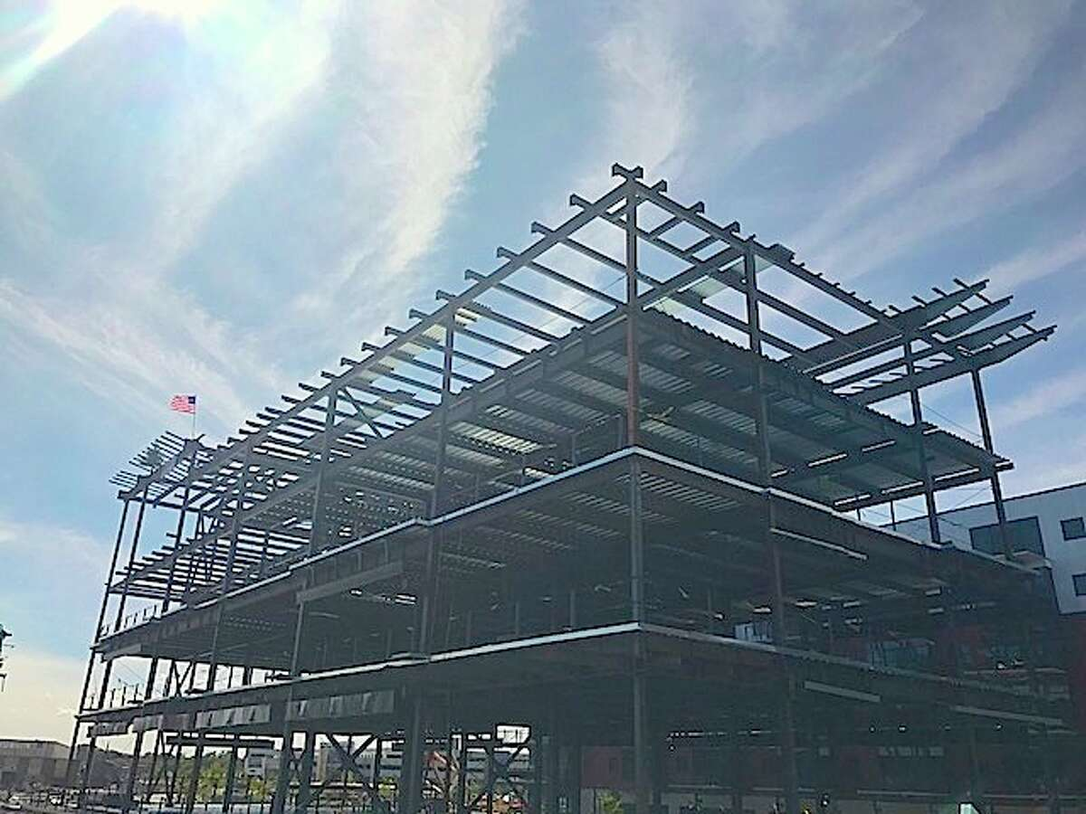 The steel structure for a new office and retail building at Mohawk Harbor in Schenectady has been completed, developer Galesi Group announced Wednesday. Click through the gallery to view other construction at the waterfront development.