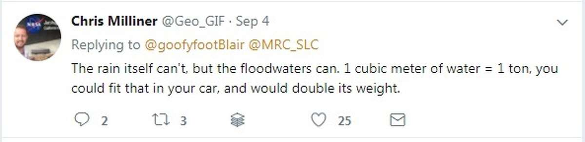 His Twitter posts, however, note that the sinking is likely to be temporary. See drone images of the Houston area during Harvey.
