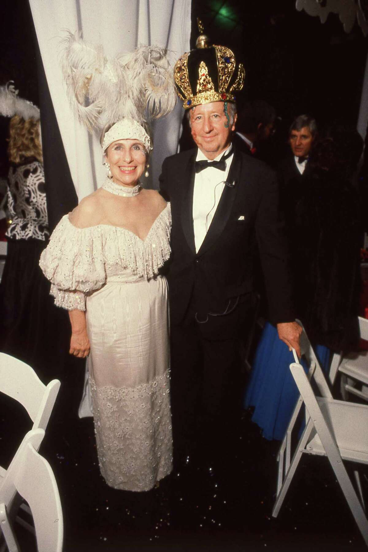 On Feb. 16, 1985 George and Cynthia Mitchell at Mardi Gras festivities at The Tremont House in Galveston. The party was part of the grand opening celebration for the new Tremont Hotel.