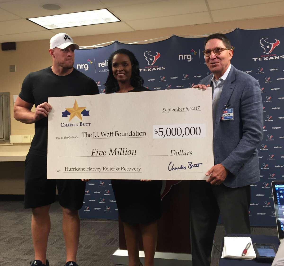 On Wednesday H-E-B chairman and CEO Charles Butt sent a personal, $5 million contribution to the Justin J. Watt Foundation's hurricane relief fund, which has collected in excess of $22 million.