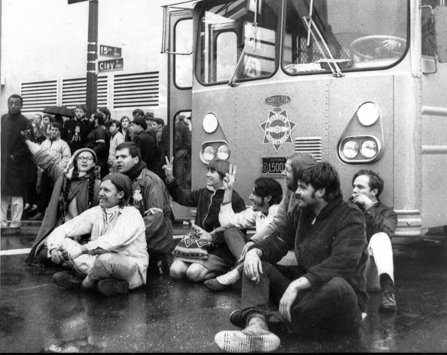Anti-Vietnam War demonstrators blocked access to the Oakland Induction Center at Clay and 15th streets in Oakland on Dec. 18, 1967.