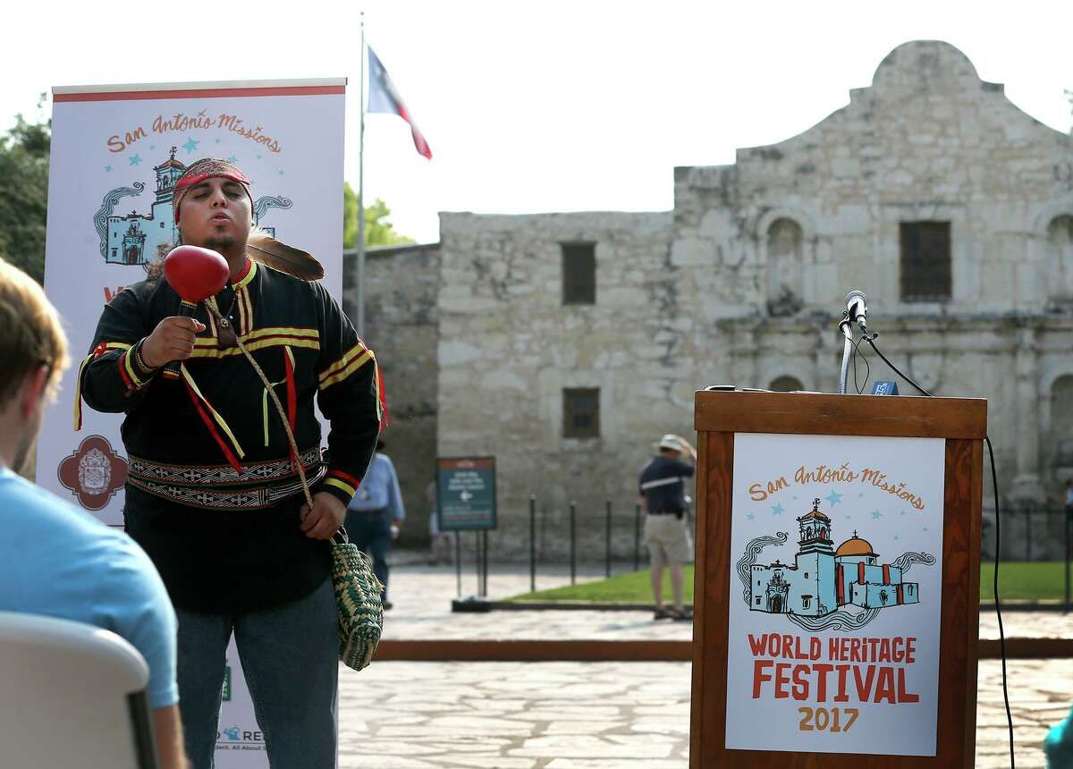 Ramon Vasquez IV (left) with American Indians in Texas at the Spanish Colonial Missions sings in a 2017 event at the Alamo to kick off of the second annual World Heritage Festival. Because of the pandemic, this year's festival will feature virtual activities and events using social-distancing practices to celebrate the San Antonio Missions, the only UNESCO World Heritage Site in Texas.