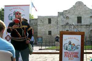 Ramón Vásquez IV, a member of the Tap Pilam Coahuiltecan Nation, sings Wednesday during the kickoff of the 2nd annual World Heritage Festival featuring the San Antonio missions.