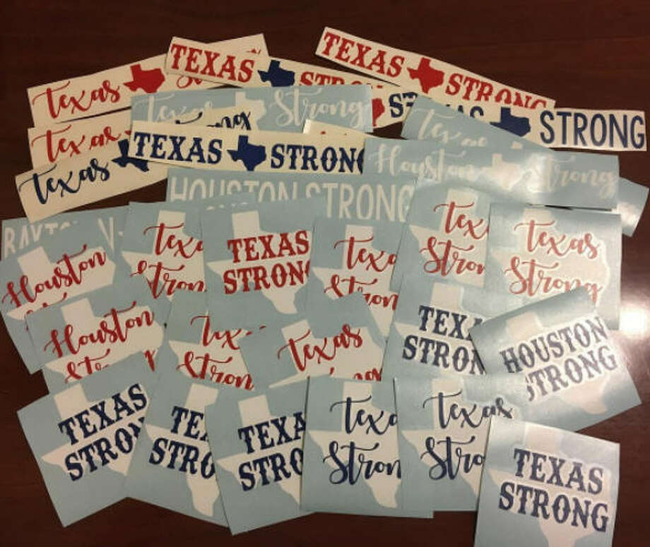 """TEXAS STRONG - HOUSTON STRONG by Darling DesignsAn Etsy shop owner from Katy, Texas was wanting to do something to help, """"friends that weren't so lucky"""" so she made TEXAS/HOUSTON STRONG decals.""""These will sell for a donation that starts at $5 (plus$.50 shipping), anyone who feels compelled to give more, would be amazing!! 100% will go to my church, River Pointe's Harvey Relief Fund. Their fund will go 100% to local relief."""" Photo: Https://www.instagram.com/darlingdesignsshop/"""