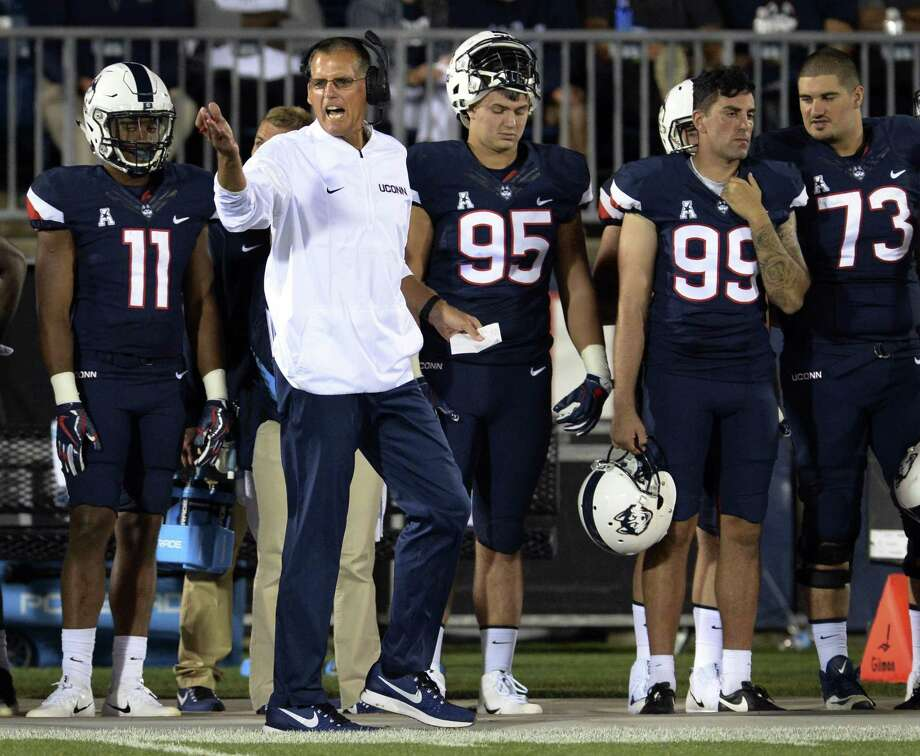 Connecticut coach Randy Edsall works the sideline of an NCAA college football game against Holy Cross at Rentschler Field, Thursday, Aug. 31, 2017, in East Hartford, Conn. UConn won 27-20. (AP Photo/Stephen Dunn) Photo: Stephen Dunn / Associated Press / FR171426 AP