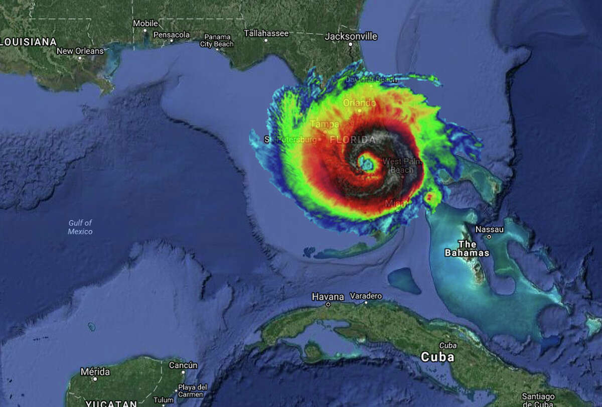 Florida, which is in Irma's projected path, is set to be consumed by Irma's enormous sizeUsing thermal images of Irma taken on Sept. 5, 2017, by NASA-NOAA's Suomi NPP satellite to show the system's Caribbean storm swirl and online mapping tool MAPfrappe, we imagined what the Category 5 storm would look like in other areas of the United States. The tropical storm-force winds in the outer bands of the storm are about 185 miles from the eye, according to the Washington Post.