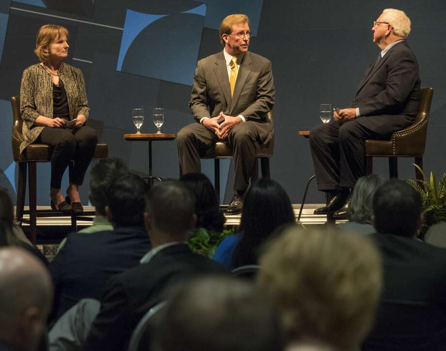 Bobby Burns, right, President and CEO, Midland Chamber of Commerce, talks with Susan Spratlen, chair-elect, Chamber board of directors and Taylor Mayne, outgoing board chair for the Chamber 9/06/17 at the 2017 Annual Meeting. Tim Fischer/Reporter-Telegram Photo: Tim Fischer/Midland Reporter-Telegram