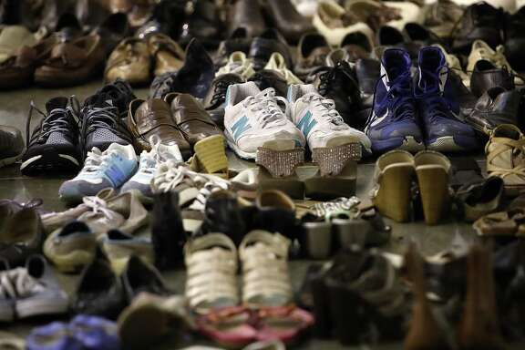 HOUSTON, TX - AUGUST 31:  Donated shoes for evacuees forced from their homes due to flooding are shown at the NRG Center August 31, 2017 in Houston, Texas. Thousands of Houston area residents are living in temporary shelters as the city of Houston is still experiencing severe flooding in some areas due to the accumulation of historic levels of rainfall, though floodwaters are beginning to recede in many parts of the city.  (Photo by Win McNamee/Getty Images)