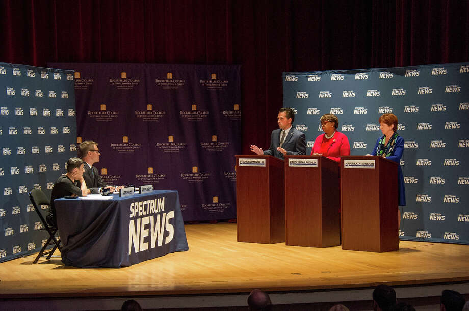 Albany Democratic mayoral candidates weigh in on pertinent city issues during a debate hosted by Spectrum News and the University at Albany's Rockefeller College of Public Affairs & Policy on Wednesday, Sept. 6, 2017. Photo: Courtesy Of University At Albany