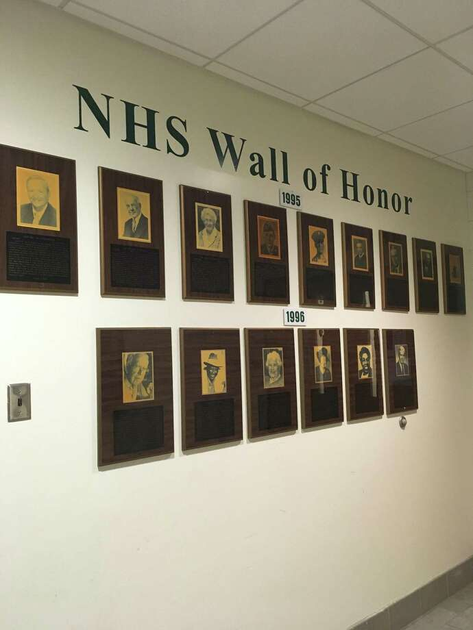 The Wall of Honor at Norwalk High School Photo: Contributed