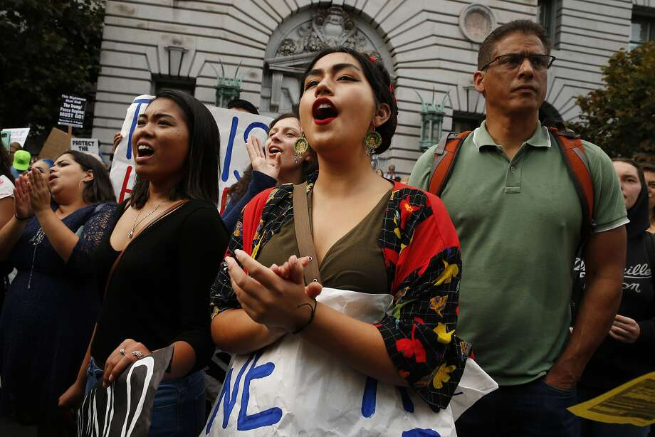 Alexandria Tagaloa joins a protest outside the S.F. Federal Building last week after the announcement that the Deferred Action for Childhood Arrivals program would be phased out. Photo: Santiago Mejia, The Chronicle