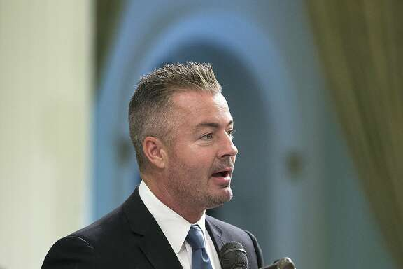 FILE - In this Aug. 18, 2016 file photo, California Assemblyman Travis Allen, R-Huntington Beach, addresses the Assembly in Sacramento, Calif. Allen said Thursday, June 22, 2017, he's entering the 2018 California gubernatorial that has largely been dominated by Democrats. (AP Photo/Rich Pedroncelli, file)