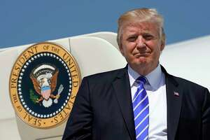 President Donald Trump during his arrival at Bismark Municipal Airport, Wednesday, Sept. 6, 2017 in Bismark, N.D. Trump is in North Dakota to promote his tax overhaul plan. (AP Photo/Pablo Martinez Monsivais)