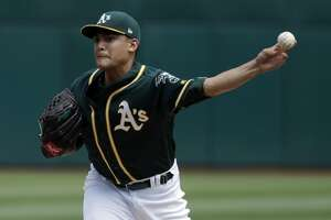 Oakland Athletics starting pitcher Sean Manaea throws to the Los Angeles Angels during the first inning of a baseball game Wednesday, Sept. 6, 2017, in Oakland, Calif. (AP Photo/Marcio Jose Sanchez)