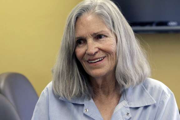 FILE - In this April 14, 2016, file photo, former Charles Manson follower Leslie Van Houten confers with her attorney, during a break from her hearing before the California Board of Parole Hearings at the California Institution for Women in Chino, Calif. Van Houten, the youngest of Charles Mason's murderous hippie followers is once more attempting to persuade a California parole panel she has reformed and deserves release from prison. Van Houten, who was 19 when she killed for Manson in 1969, is scheduled to appear before a parole panel for the 21st time Wednesday, Sept. 6, 2017 (AP Photo/Nick Ut, File)