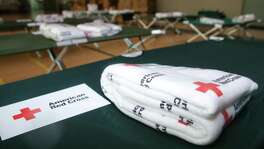Food, supply and bed are prepared at the American Red Cross shelter on 28th Street on Saturday, August 25, 2017 in Galveston. As of Saturday afternoon, three guests have checked in to their service. ( Yi-Chin Lee / Houston Chronicle)