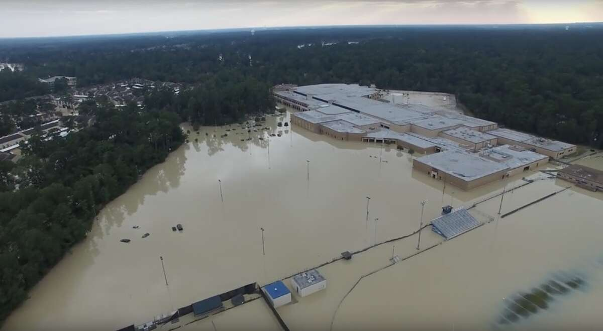 Flooding at Kingwood High School is shown in this aerial photo. See more photos of flooding and cleanup in Kingwood.
