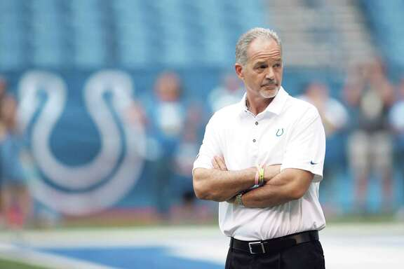 Indianapolis Colts head coach Chuck Pagano roams the field before a preseason NFL football game against the Cincinnati Bengals in Indianapolis, Thursday, Aug. 31, 2017. (AP Photo/AJ Mast)