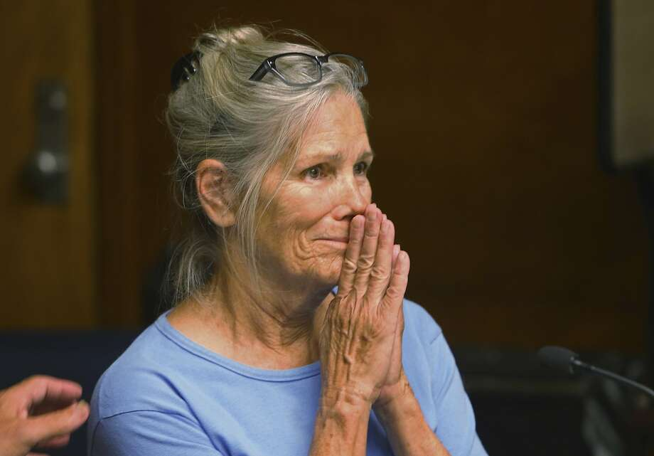 Leslie Van Houten reacts after hearing she is eligible for parole during a hearing on Wednesday, Sept. 6, 2017 at the California Institution for Women in Corona, Calif.  Photo: Stan Lim, Associated Press