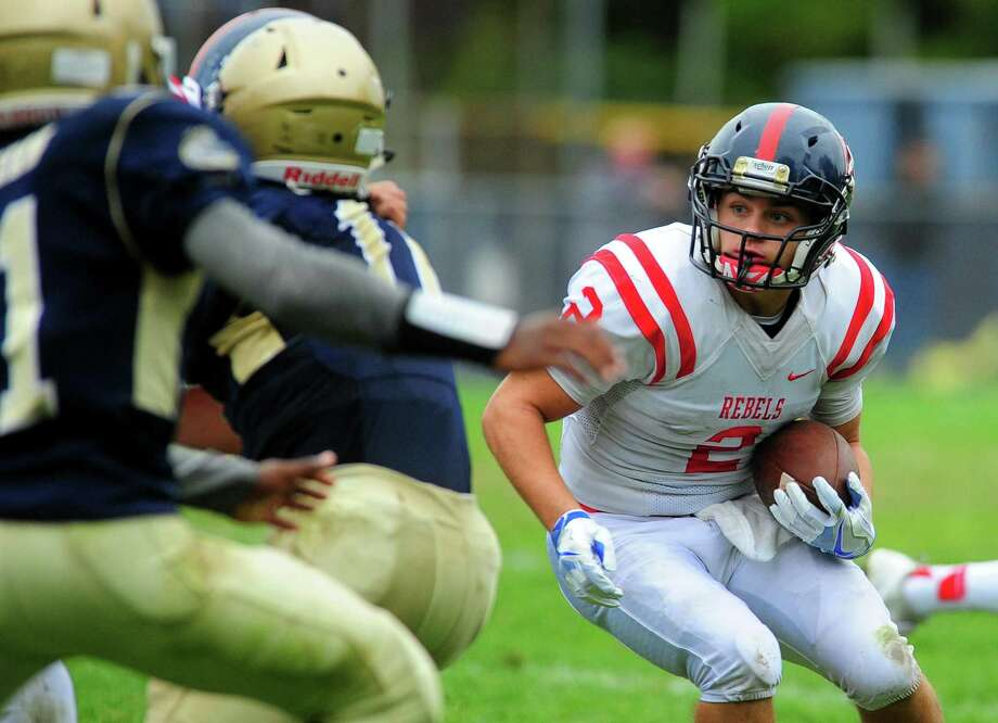 Football action between New Fairfield and Notre Dame of Fairfield in Fairfield, Conn., on Saturday Oct. 1, 2016. Photo: Christian Abraham / Hearst Connecticut Media / Connecticut Post