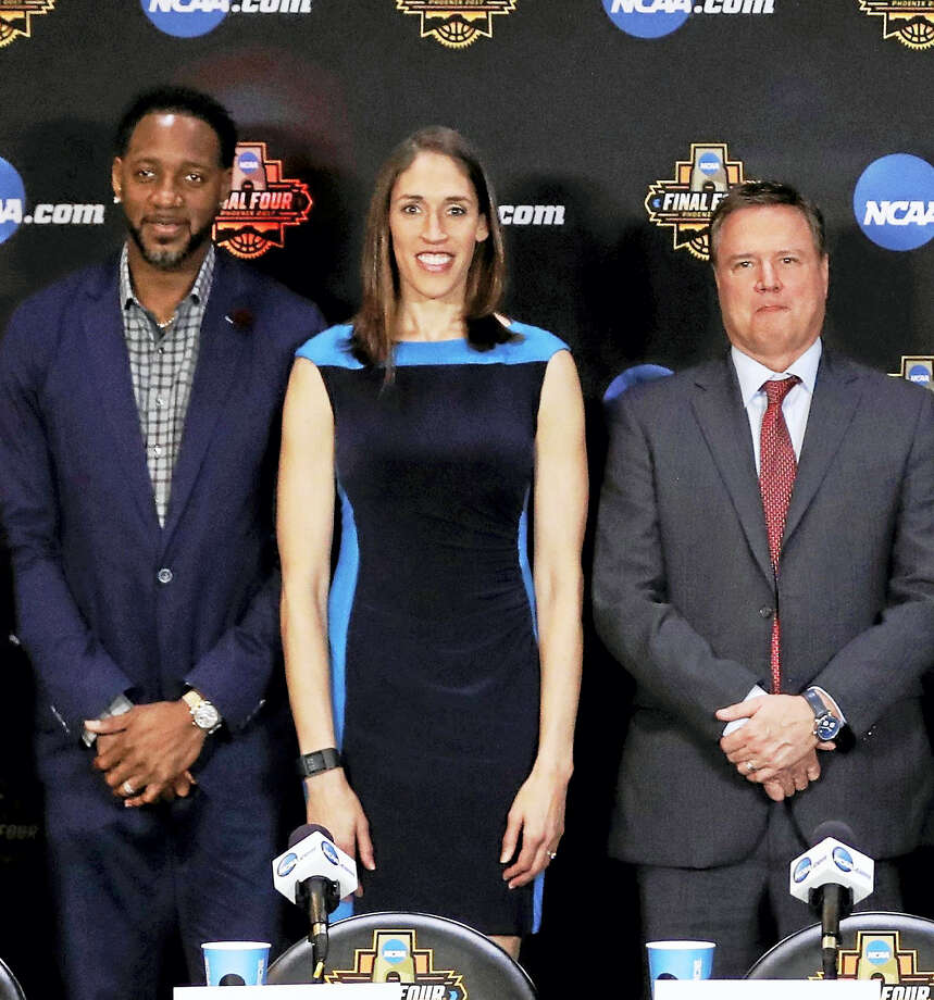 From left Tracy McGrady, Rebecca Lobo and Bill Self, pose for a picture at the Basketball Hall of Fame news conference this past April in Glendale, Ariz. Photo: File Photo / The Associated Press / Copyright 2017 The Associated Press. All rights reserved.