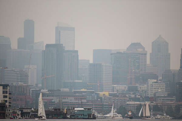 Sailboats mill around on Lake Union as Seattle is covered in smokey haze from numerous fires in the state, on Tuesday, Sept. 5, 2017. (GRANT HINDSLEY, seattlepi.com)