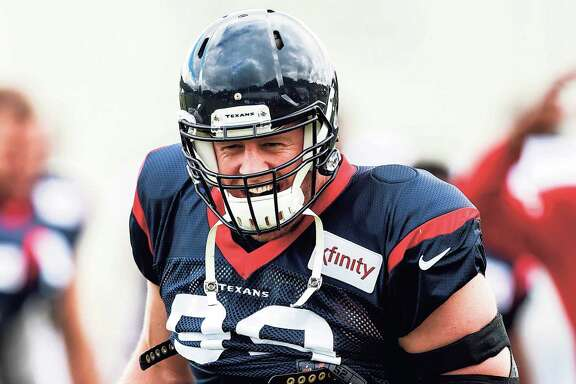 Houston Texans defensive end J.J. Watt (99) yells at the end of a drill during training camp at the Greenbrier on Saturday, July 29, 2017, in White Sulphur Springs, W.Va. ( Brett Coomer / Houston Chronicle )