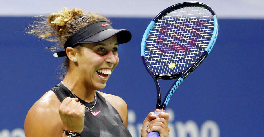 Madison Keys, of the United States, reacts after defeating Kaia Kanepi, of Estonia, in a quarterfinal match against at the U.S. Open tennis tournament in New York, Wednesday, Sept. 6, 2017. (AP Photo/Kathy Willens) Photo: Kathy Willens/Associated Press