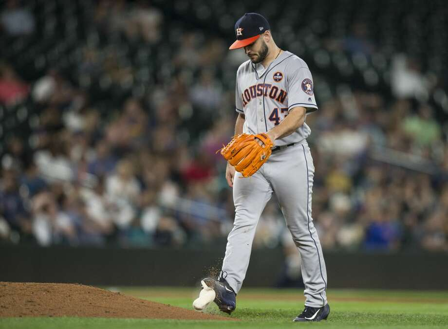 SEATTLE, WA - SEPTEMBER 6: Starting pitcher Lance McCullers Jr. of the Houston Astros kicks the rosin bag after giving up a run during the sixth inning of a game against the Seattle Mariners at Safeco Field on September 6, 2017 in Seattle, Washington. (Photo by Stephen Brashear/Getty Images) Photo: Stephen Brashear/Getty Images