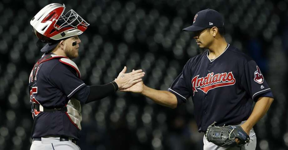 Cleveland Indians starting pitcher Carlos Carrasco, right, celebrates with catcher Roberto Perez after the Indians defeated the Chicago White Sox 5-1 in a baseball game Wednesday, Sept. 6, 2017, in Chicago. (AP Photo/Nam Y. Huh) Photo: Nam Y. Huh/Associated Press