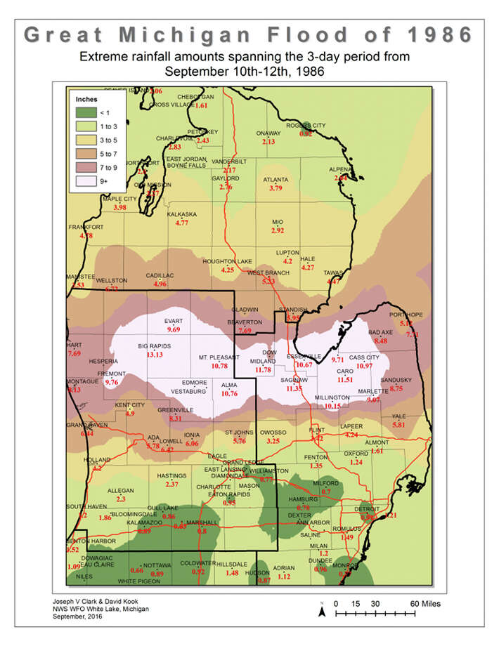 Great Michigan Flood of 1986: Extreme rainfall amounts spanning the three-day period from Sept. 10-12. Photo: National Weather Service
