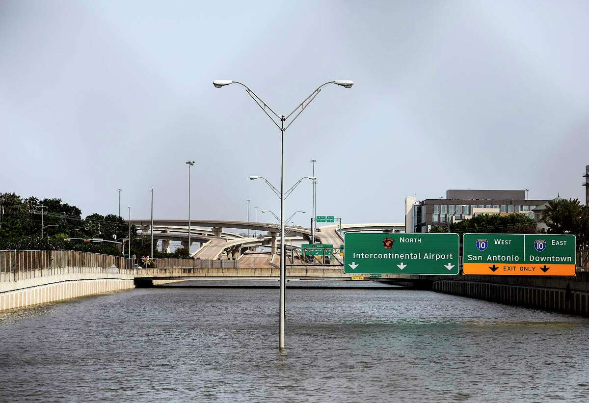 Beltway 8 was still underwater before the local authorities decided to try to pump it out on Wednesday, Sept. 6, 2017, in Houston.