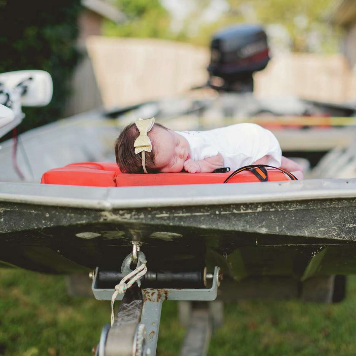 Baby Hope of Orange, Texas, had her newborn photos taken in a Cajun Navy boat that rescued Hope and her family from Harvey floodwaters on Aug. 30, 2017.PHOTOS: Dramatic rescues during Hurricane Harvey