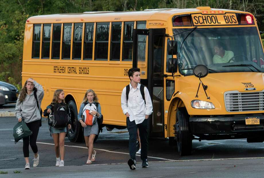 Bethlehem Central High School is one of several schools that is considering moving its start time so students can sleep more.  Students arrive for the first day of class at the Bethlehem Central High School on Thursday, Sept. 7, 2017, in Delmar, N.Y.  (Skip Dickstein/Times Union) Photo: SKIP DICKSTEIN, Albany Times Union / 20041422A