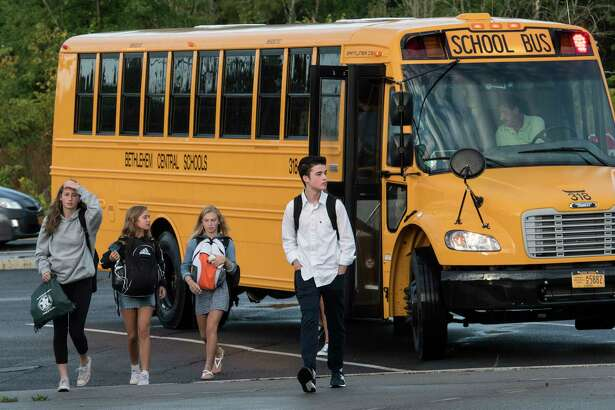 Students arrive for the first day of class at the Bethlehem Central High School on Thursday, Sept. 7, 2017, in Delmar, N.Y. (Skip Dickstein/Times Union)