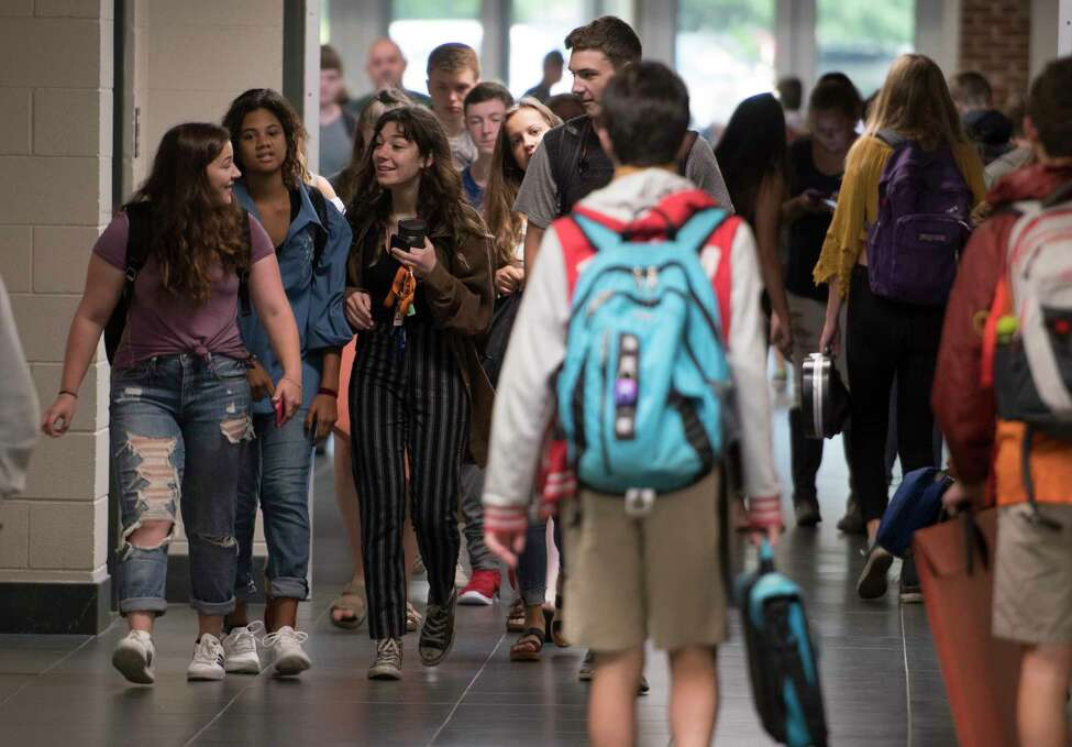 Students crowd the halls on the first day of class at the Bethlehem Central High School on Thursday, Sept. 7, 2017, in Delmar, N.Y. (Skip Dickstein/Times Union)