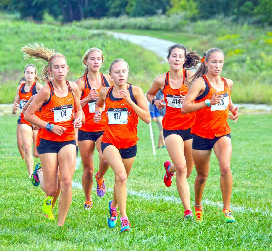The Edwardsville girls cross country team runs in a pack during the Tiger Classic on Wednesday at the SIUE course.