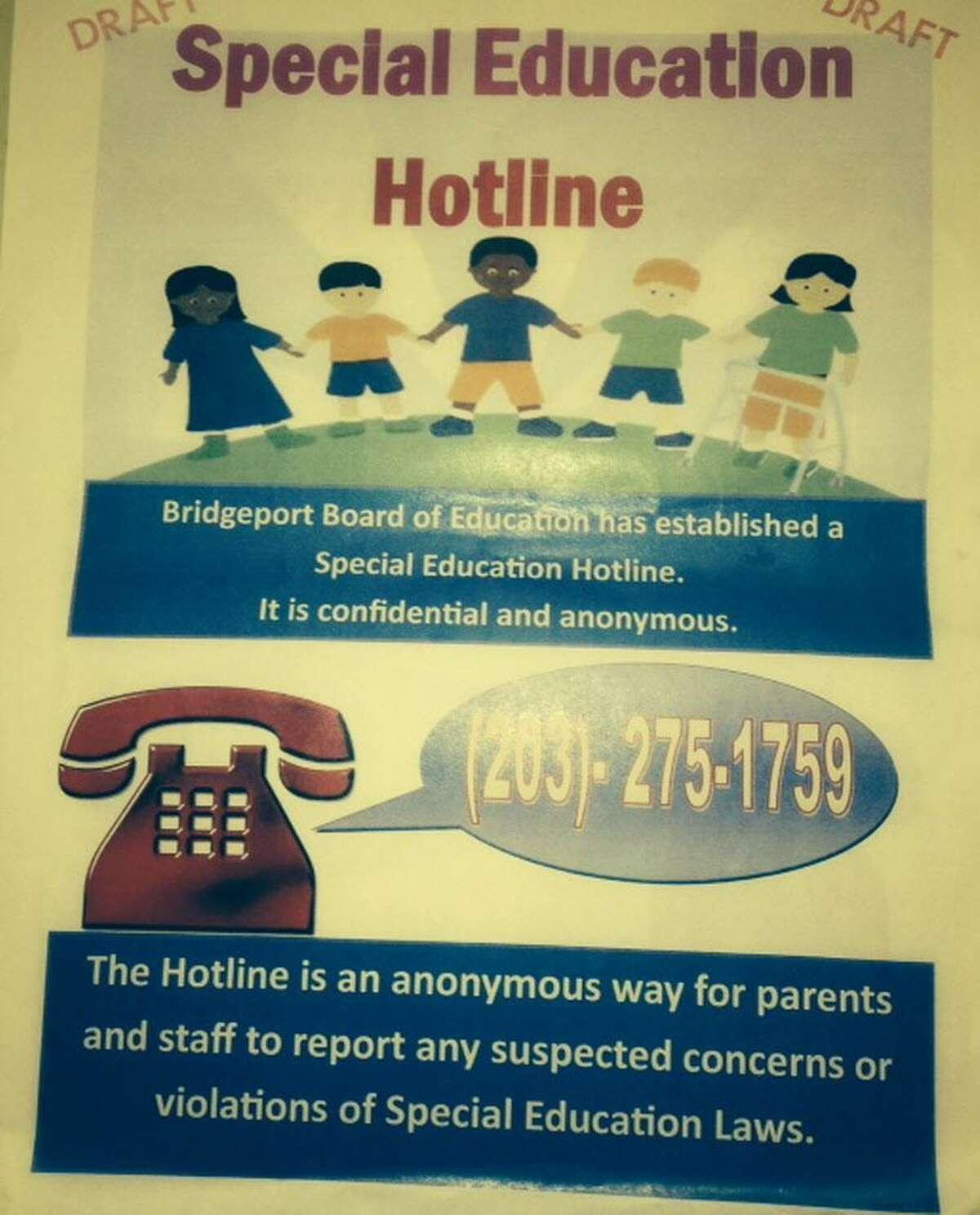 Bridgeport's Special Education Hotline flyer