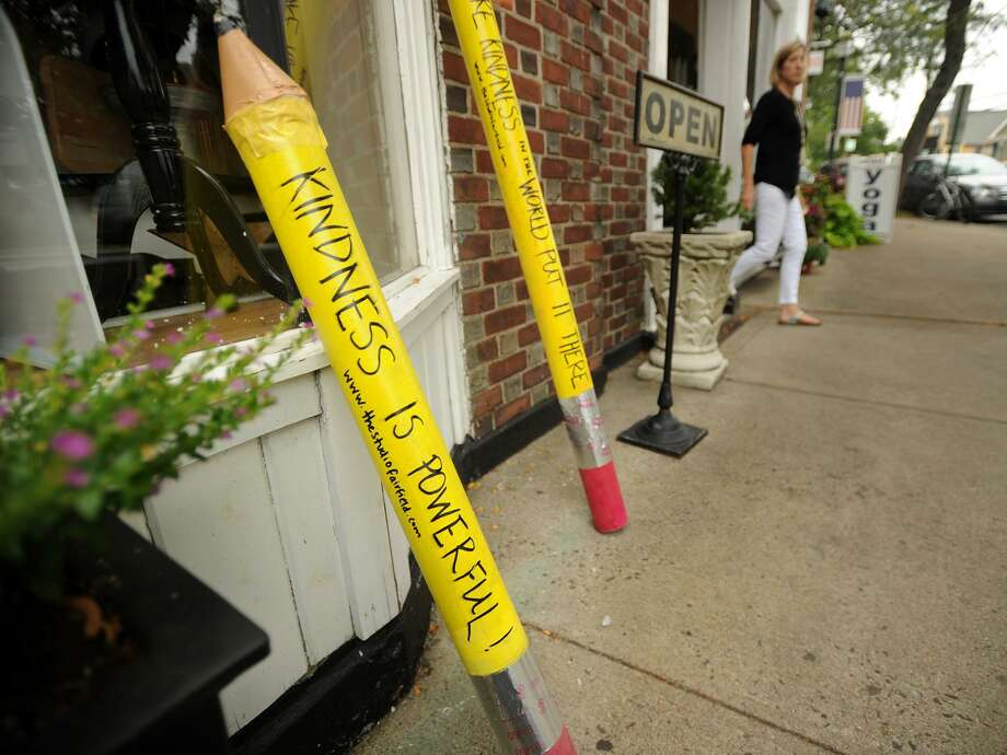 Giant pencils scattered around downtown Fairfield share messages on the importance of kindness. The public art project, corresponding with the start of the new school year, was produced by The Studio Fairfield, an art studio that provides art camps and classes at 43 Ruane St. Photo: Brian A. Pounds / Hearst Connecticut Media / Connecticut Post