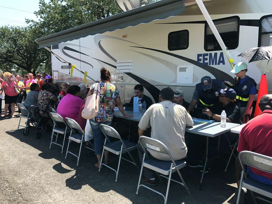 FEMA station set up near St Mary's Hospital on 9th Ave in Port Arthur. September 7, 2017. Photo: Kim Brent