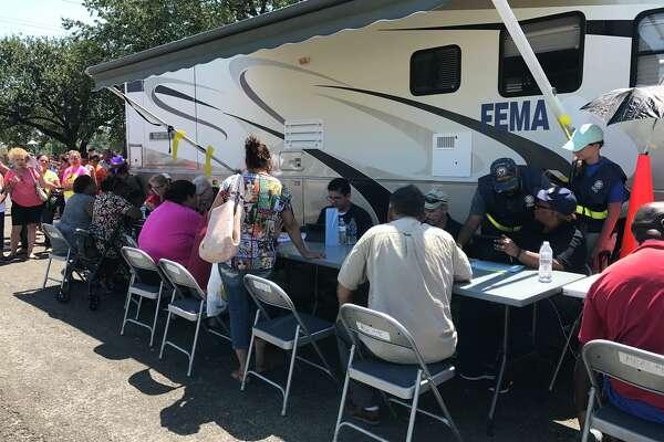 FEMA station set up near St Mary's Hospital on 9th Ave in Port Arthur. September 7, 2017.