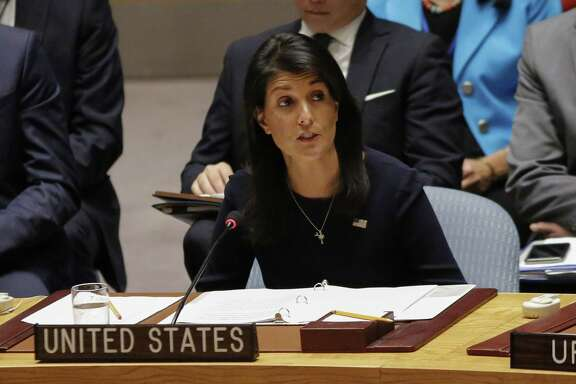 (FILES) This file photo taken on September 4, 2017 shows United States Ambassador to the United Nations Nikki Haley speaking during a UN Security Council emergency meeting over North Korea's latest nuclear testat UN Headquarters in New York. Washington's ambassador to the United Nations warned September 5, 2017 that, if left unchanged, the Iran nuclear deal could allow Tehran to pose the same kind of missile threat to US cities as North Korea.President Donald Trump is due to decide in the middle of next month whether he believes Iran is living up to its commitments or whether to seek new US sanctions that could torpedo the accord.  / AFP PHOTO / KENA BETANCURKENA BETANCUR/AFP/Getty Images
