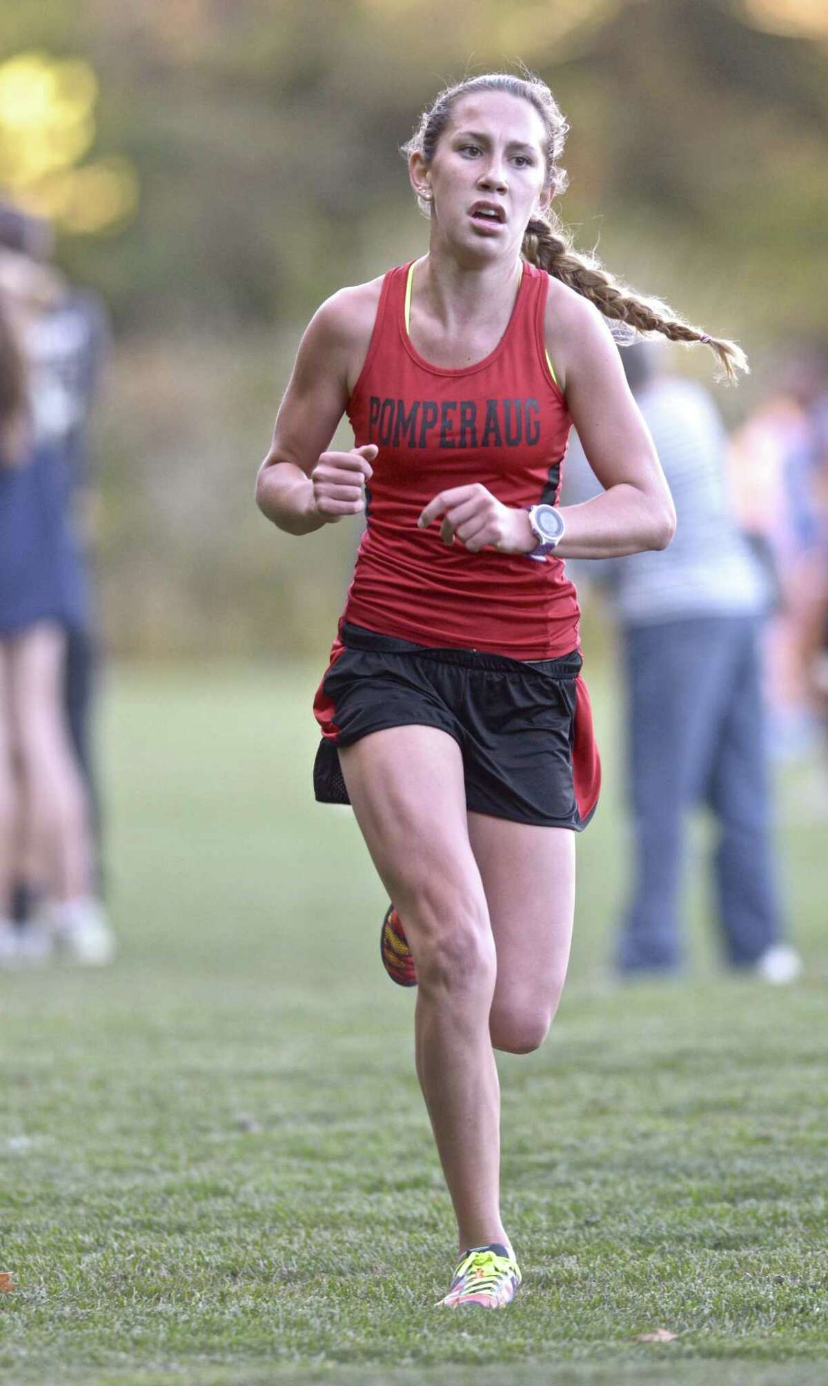 FILE PHOTO: Ivy Walker, from Pomperaug High School, finished first in the girls high School cross country meet between Brookfield, Pomperaug and Newtown high schools on Tuesday, October 6, 2015, at Reed Intermediate School, Newtown, Conn.