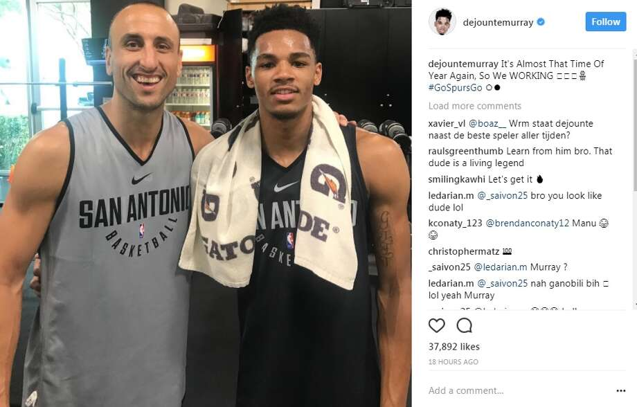 2dbe2257d890 Manu Ginobili and Dejounte Murray are preparing for the new season in new  uniforms.