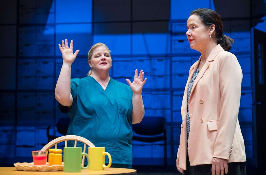 """From left: Cindy (Laura Jane Bailey) explains to social worker Caroline (Jamie Jones) how Jesus is her """"personal trainer""""in Aurora Theatre Company's """"Luna Gale."""" Photo: David Allen, Aurora Theatre Company"""