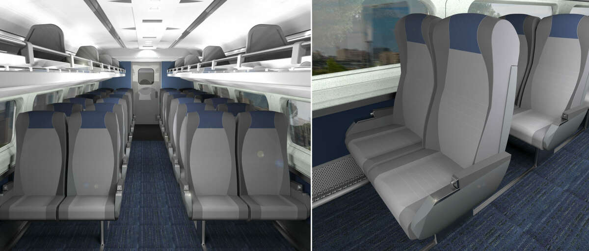 A rendering shows what Amtrak's renovated passenger cars will look like following planned improvements.