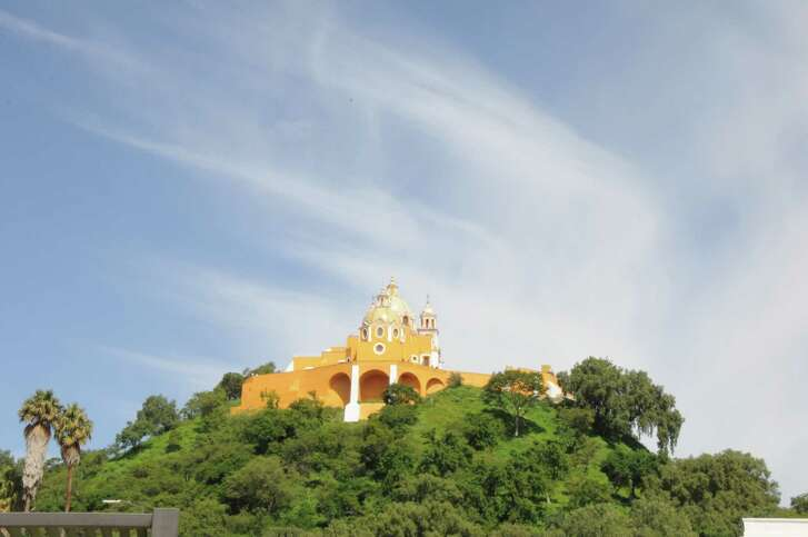 The Shrine of Our Lady of Remedies sits atop a pyramid in Cholula, Mexico.