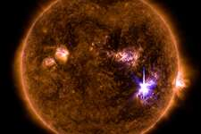 NASA caption: An X9.3 class solar flare flashes in the middle of the Sun on Sept. 6, 2017. This image was captured by NASA's Solar Dynamics Observatory and shows a blend of light from the 171 and 131 angstrom wavelengths.